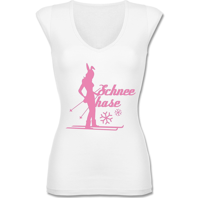 Après Ski - Ski Schneehase - figurbetontes Damen Shirt mit tiefem V-Ausschnitt