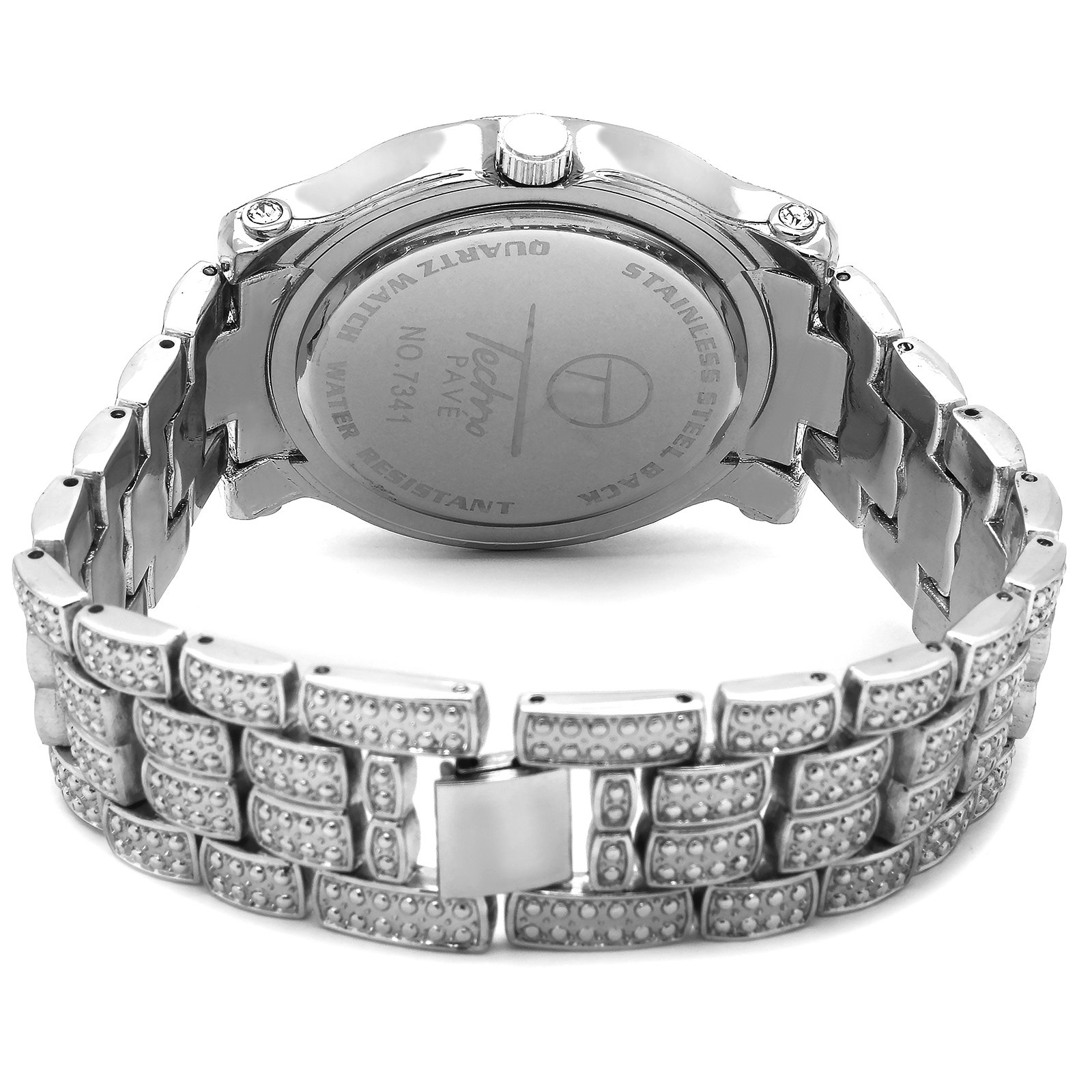 Iced Out Pave Silver Tone Hip Hop Men's Bling Bling Silver Metal Band Watch Watches by Technoking (Image #3)