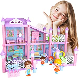 Dreamhouse Dollhouse Building Playset Includes 4 Dolls, Furniture, Accessories, DIY Deluxe Cottage with Bedroom, Kitchen, Bathroom Dreamy Princess House Pretend Toy Gift for Toddler Girls 3+ (152 PCS)