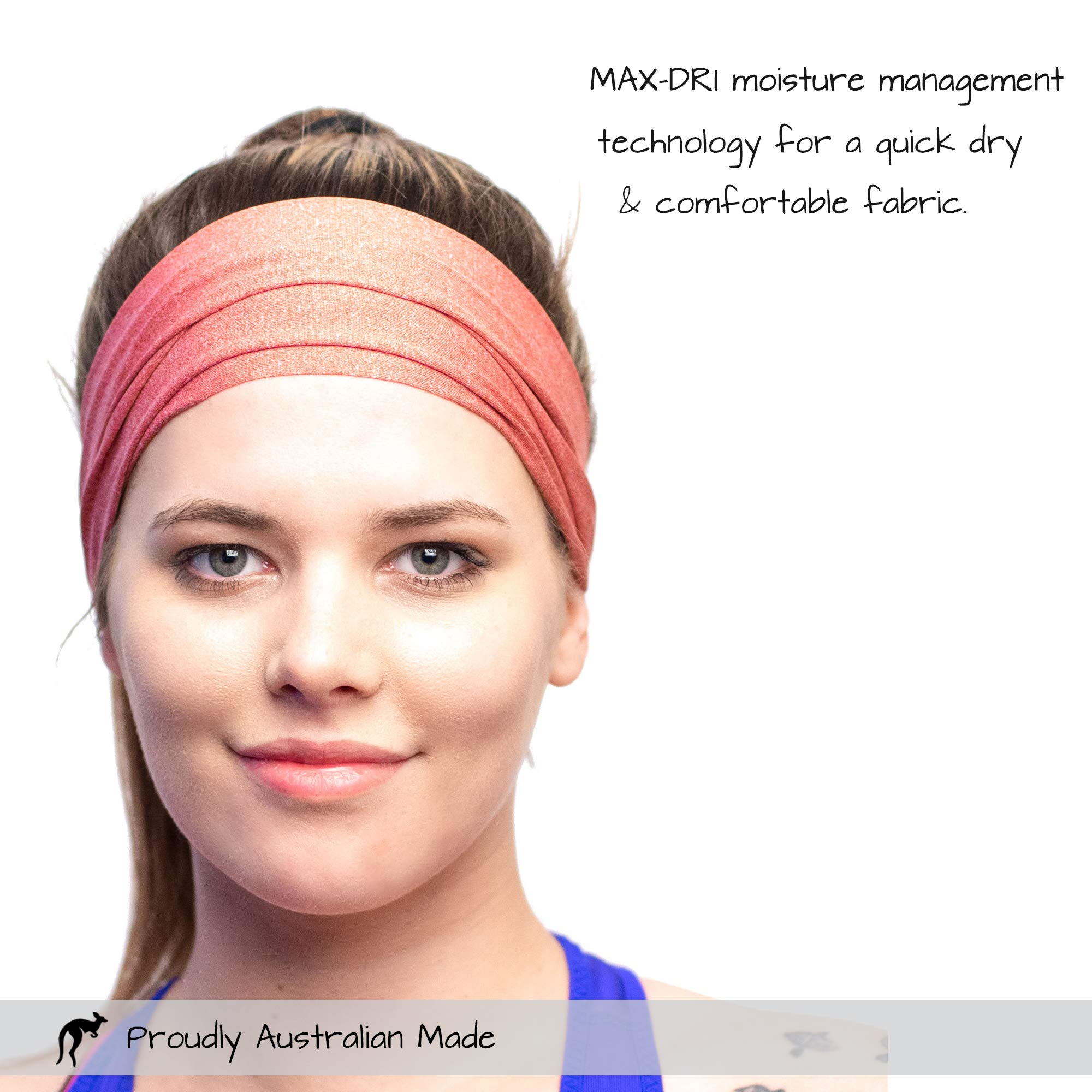 Red Dust Active Sports Headband - Lightweight, Wide & Moisture Wicking - The Ideal Red Running Sweatband - Designed for Women by Red Dust Active (Image #5)