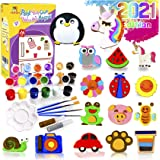 YOFUN Paint Your Own Wooden Magnet - 26 Wood Painting Craft Kit and Art Set for Kids, Art and Craft Supplies Party Favors for