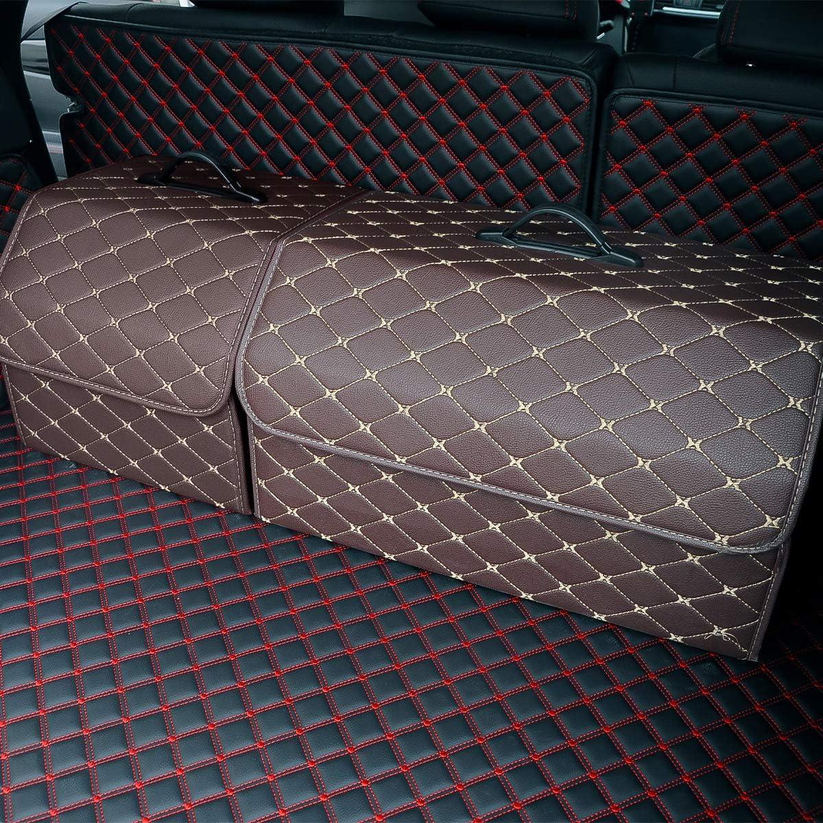 Black-L Ergocar Car Trunk Organizer Foldable Car Boot Tidy Storage Box Waterproof PU Car Boot Storage Organiser for Car//SUV//Truck//Auto