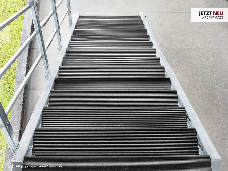 Intercon® Hollywood - Escalera exterior con rejilla o WPC, escalera de acero galvanizado, 8 peldaños