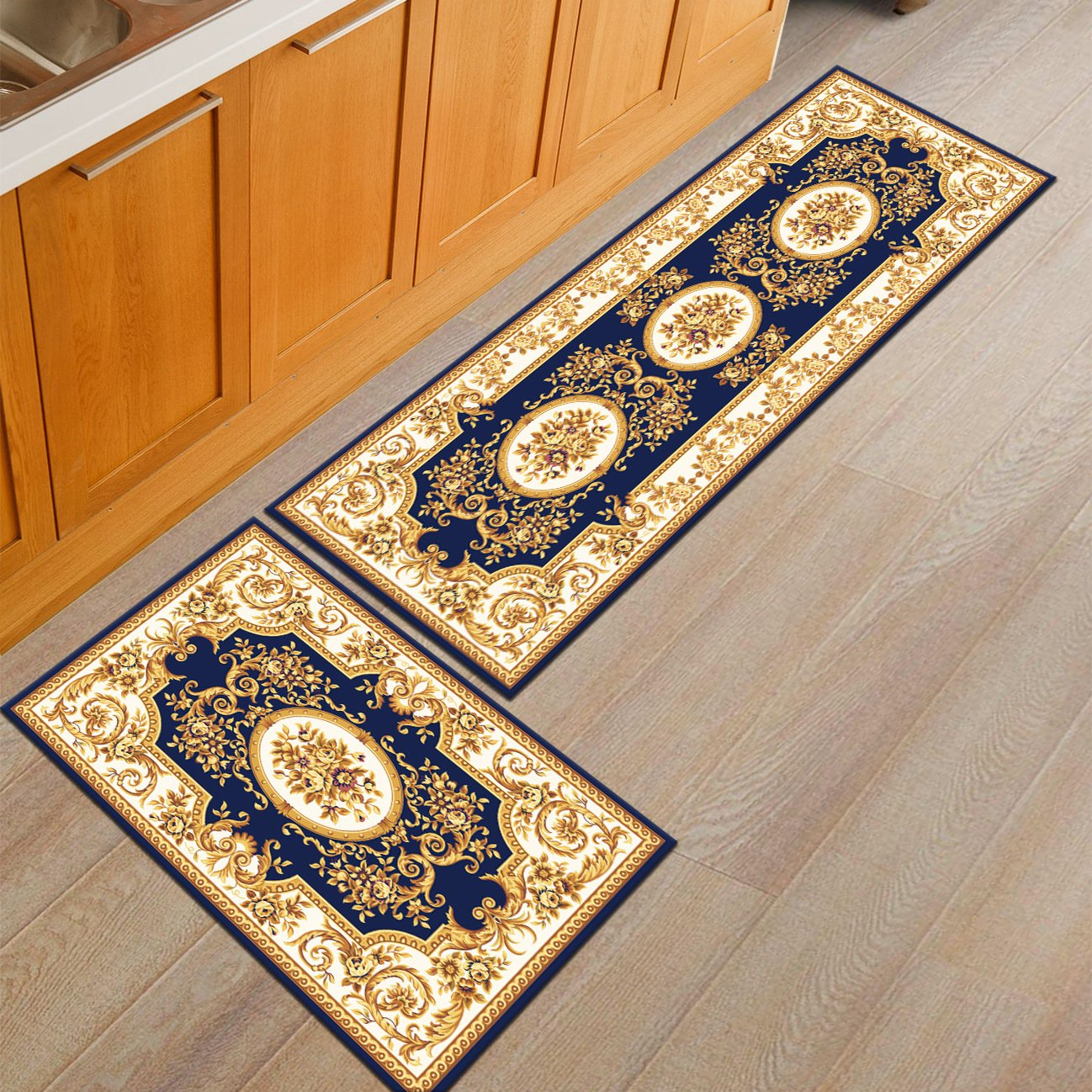 Kitchen Rugs, CAMAL 2 Pieces European Style Printed Kitchen Carpet Rubber Backing Doormat Runner Rug Set (16x24+16x48, Color 01)