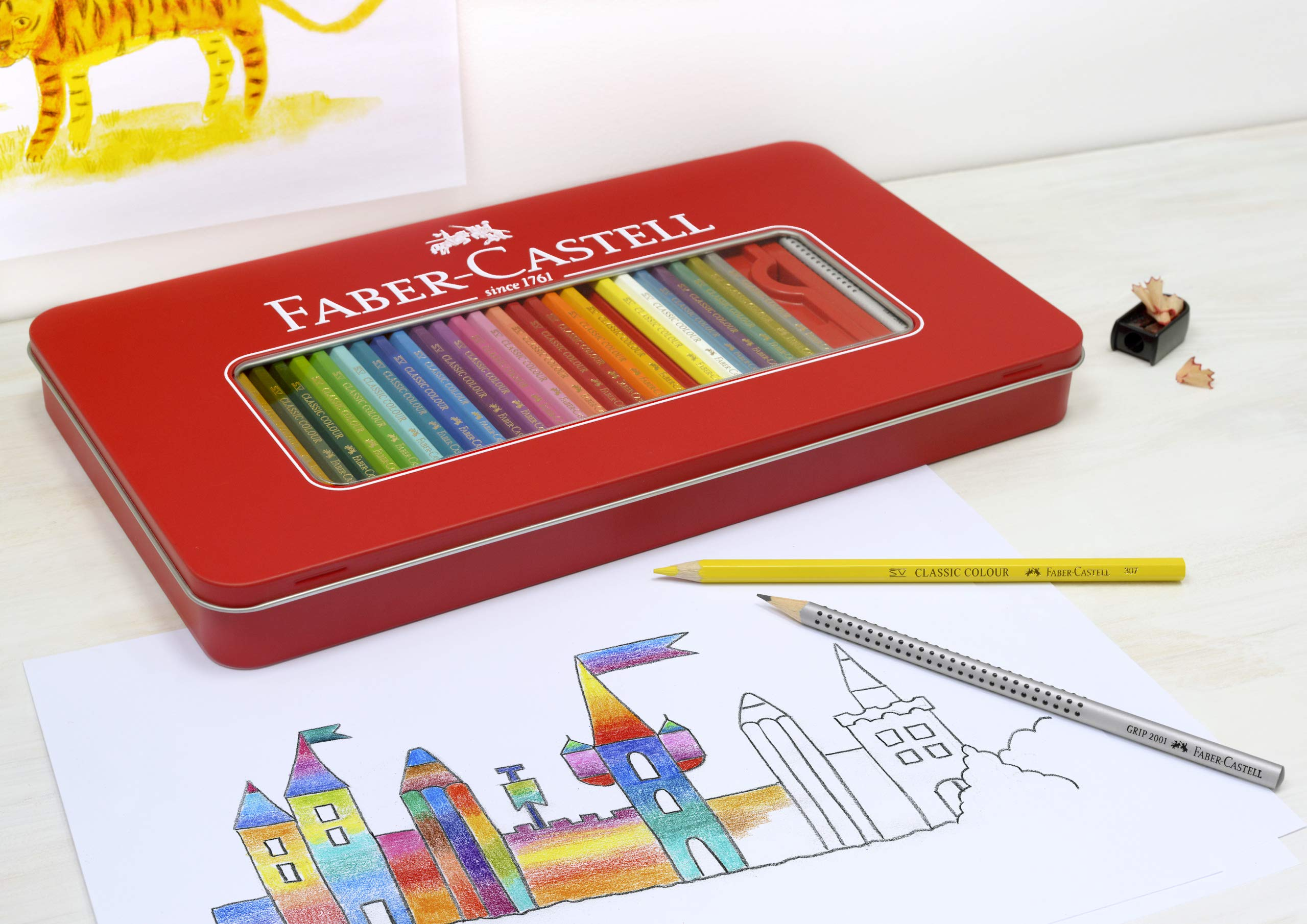 Creativity for Kids Faber Castell Classic Colored Pencils Tin Set, 48 Vibrant Colors in Sturdy Metal Case - Premium Children's Art Products by Creativity for Kids (Image #2)
