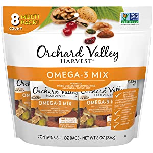 ORCHARD VALLEY HARVEST Omega-3 Mix, 1 oz (Pack of 8), Non-GMO, No Artificial Ingredients