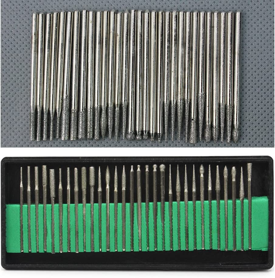 30x Diamond Burr Bits Drill For Engraving Dremel Rotary Tool Set 2.3mm Shanks