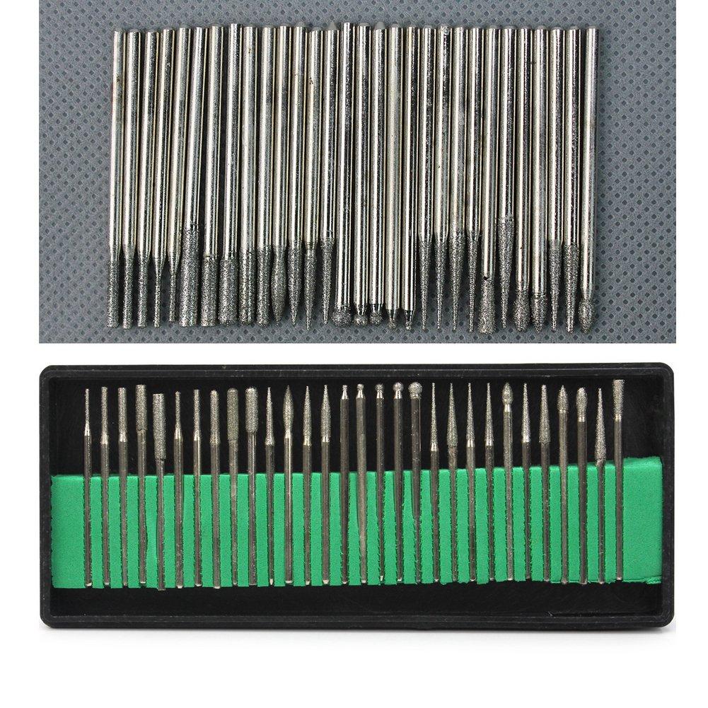 dremel diamond bits. 30pcs diamond point burr bits drill for grinding engraving dremel rotary tool set 2.3mm shanks: amazon.co.uk: business, industry \u0026 science t