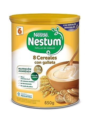 Nestlé Papillas NESTUM Cereales para bebé con galleta - 3 papillas de 650g -Total 1950g