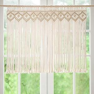 Mkono Macrame Window Panels Window Curtain Treatments Boho Home Decor for Apartment Dorm Room Living Room Kitchen Bathroom