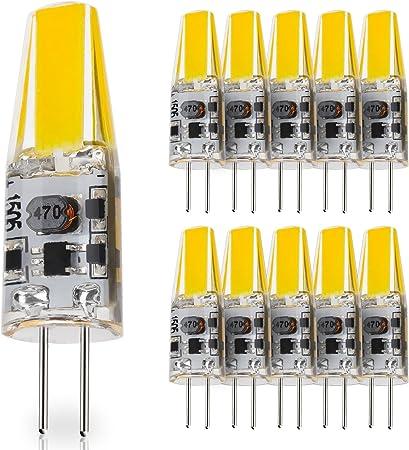 10X G4 Bombilla Hal/ógena Bi-Pin Luz Blanca C/álida DC 12V 10W para Hogar Oficina