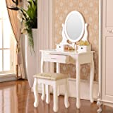 Elegance Vanity Table Set Makeup Desk with Stool & 3 Drawers, Oval Mirror ,White