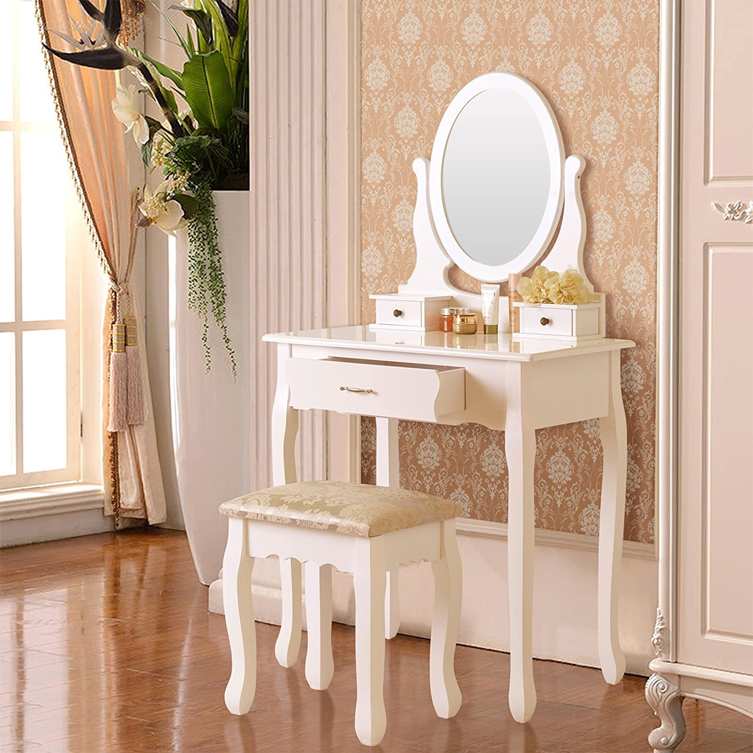 Makeup Table Amazoncom Elegance Vanity Table Set Makeup Desk With Stool 3