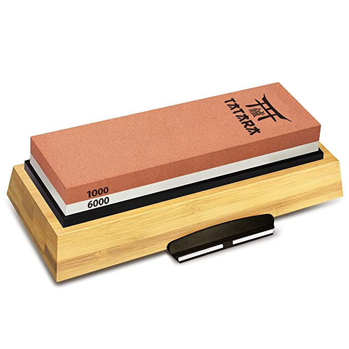 TATARA | Knife Sharpening Stone 1000/6000 Grit | Double Sided Japanese Blade Whetstone Set For Knives, Axes, Swords, Machetes and Hatchets | Non-Slip Bamboo Base, Waterstone With Free Honing Guide