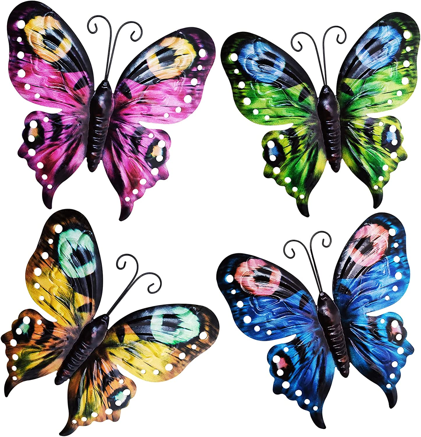Large Metal Butterfly Wall Decor, Wall Art Decorations Hanging, Set of 4 Colorful Garden Wall Sculptures for Home, Bedroom, Living Room, Office, Fence, Garden, Yard, Indoor Outdoor Wall Decor