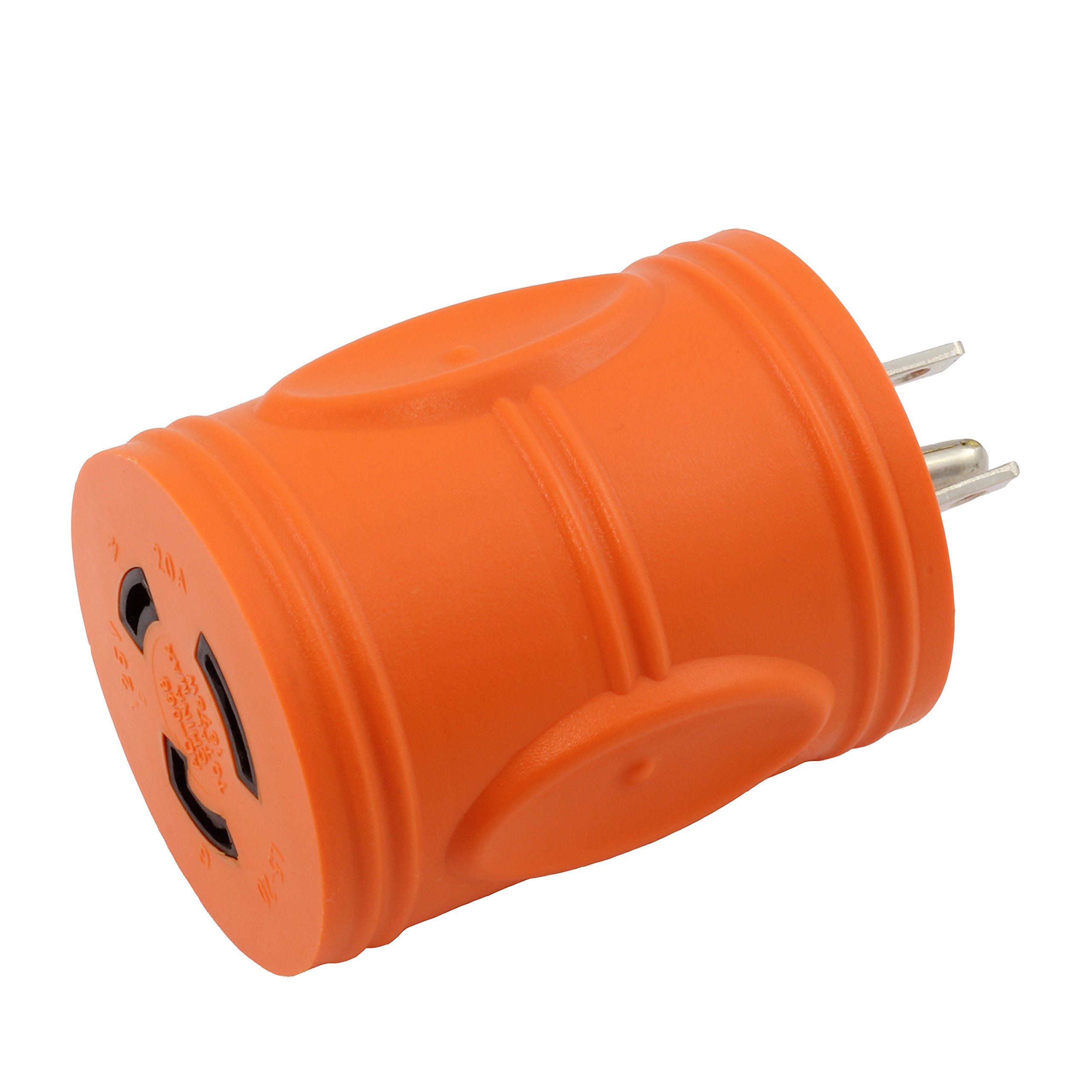 AC WORKS [AD515L520] Locking Adapter Household 15Amp 5-15P Plug to Locking 20Amp L5-20R Female Connector