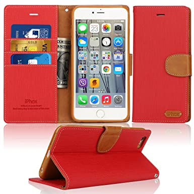 best sneakers c8ea6 87428 iPhone 6S Case, IPHOX iPhone 6 Flip Case, [Rose] iPhone 6S & 6 Leather Case  with [Cash and Card Slots] [Kickstand] [Magnetic Closure] Premium Folio ...