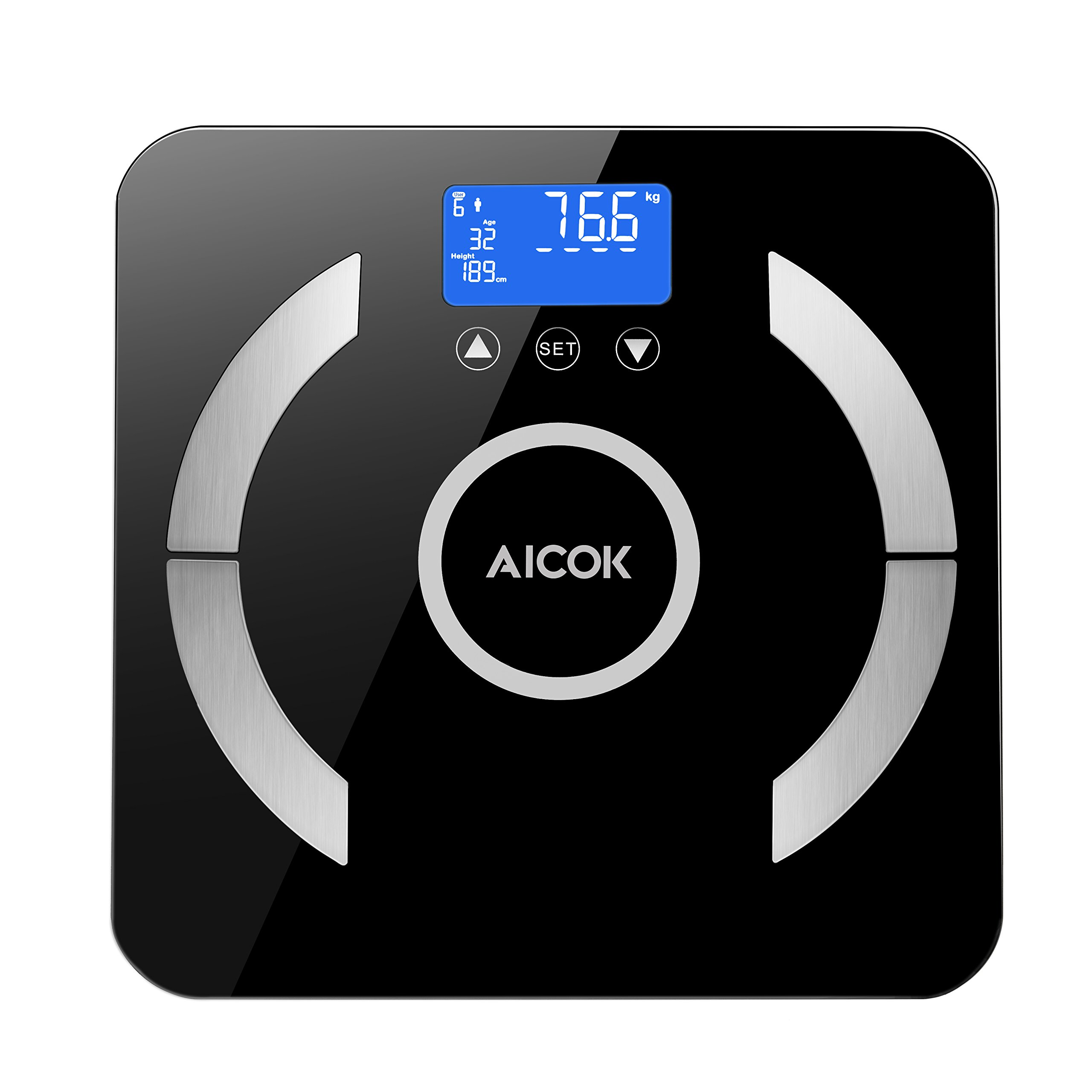 Aicok Digital Body Fat Weight Scale, Accurate Health Metrics,Measures Weight, Body Fat, Water, Bone Mass, 400 Lbs Capacity, Large Backlit Display(Inclus 4 * AAA batteries )