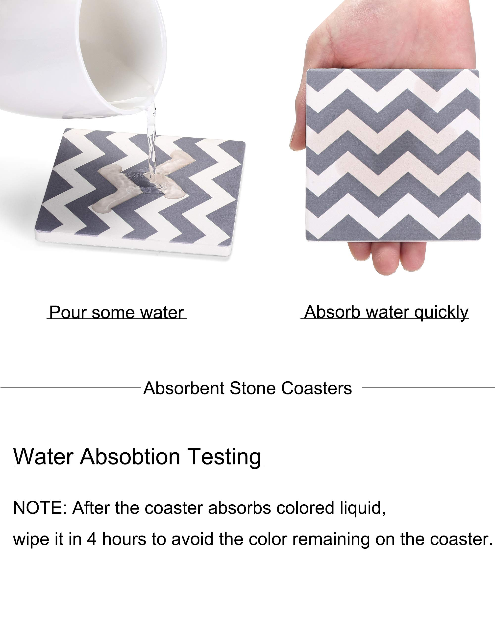 MIWARE Absorbent Stone Drink Coasters - 6 Packs Coaster Set, Grey Waves Style