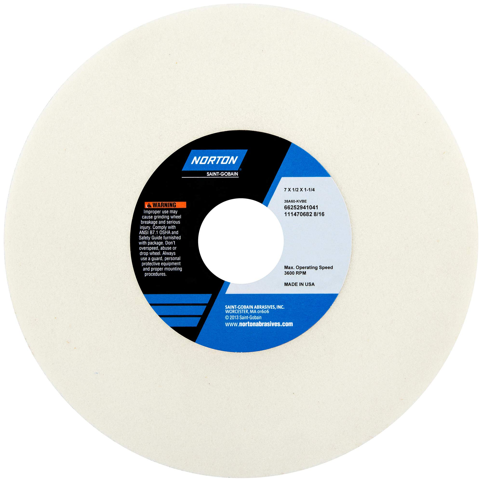 NORTON 38A Vitrified Grinding Wheel - Size: 7'' x 1/2'' x 1-1/4'' STYLE: Straight - Type 01 - No Recess Specification: 38A150-JVBE