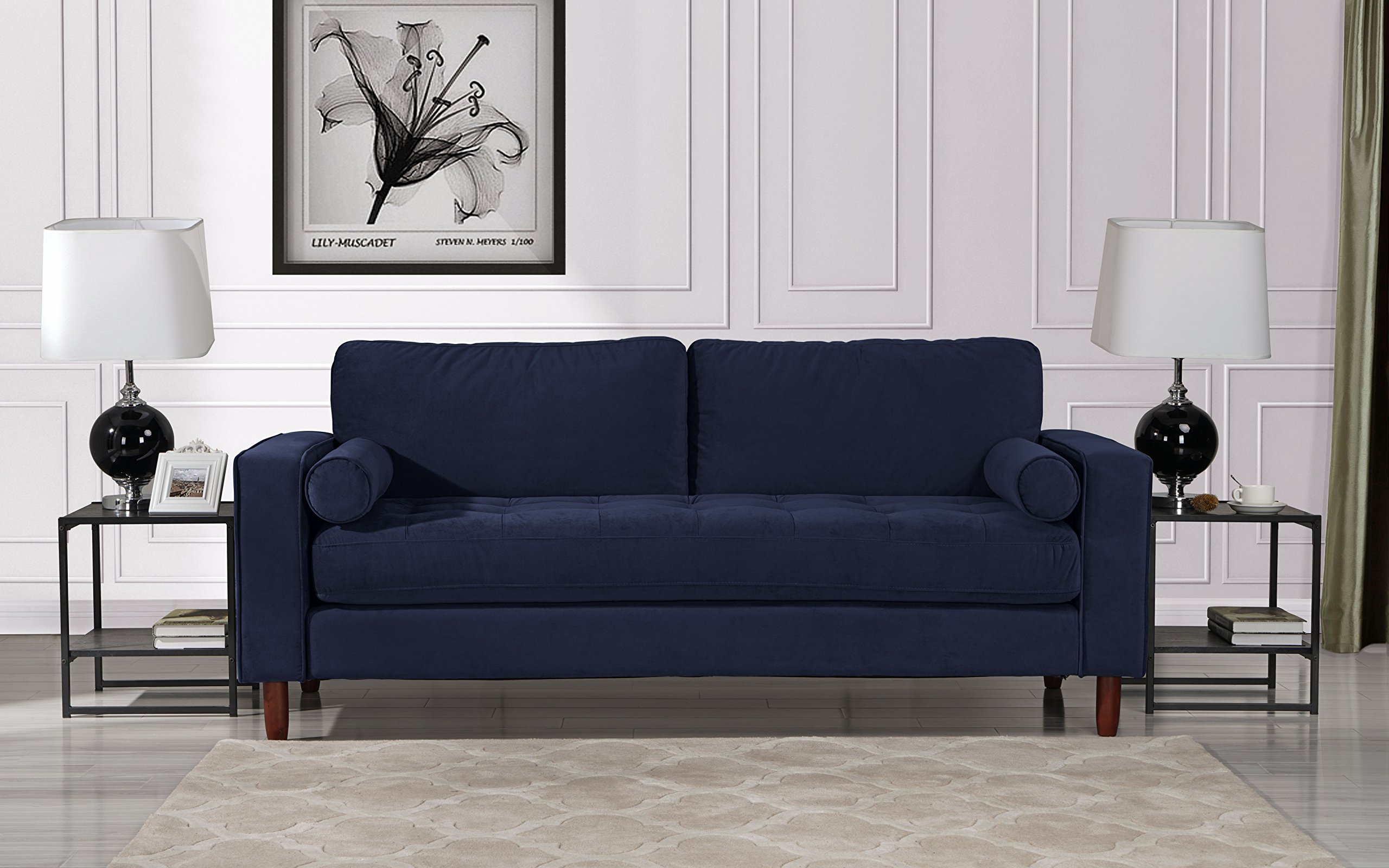 Mid Century Modern Velvet Fabric Sofa, Couch with Bolster Pillows (Navy) by DIVANO ROMA FURNITURE