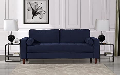 Peachy Mid Century Modern Velvet Fabric Sofa Couch With Bolster Pillows Navy Ocoug Best Dining Table And Chair Ideas Images Ocougorg