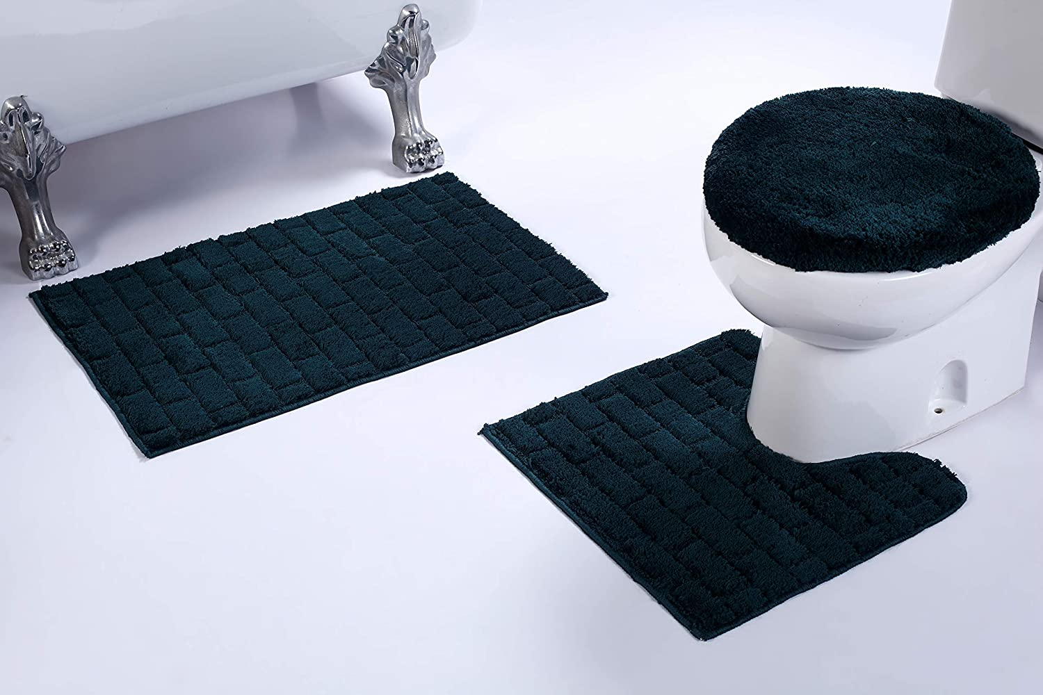 Superb Fancy Linen 3Pc Non Slip Bath Mat Set With Brick Pattern Solid Navy Blue Bathroom U Shaped Contour Rug Mat And Toilet Lid Cover New Bath 67 Machost Co Dining Chair Design Ideas Machostcouk