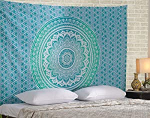Green Ombre Mandala Tapestry Decor - Cotton Hippie Wall Hanging Tapestries Art Picnic Sheet Elegant Boho Room Decoration - Turquoise - 50 x 60 Inches