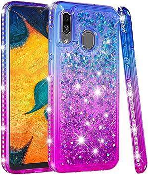 Esories Coque Etui pour Samsung Galaxy A20e, Fille Liquide Glitter Rhinestone Housse en TPU Silicone Antichoc Bumper