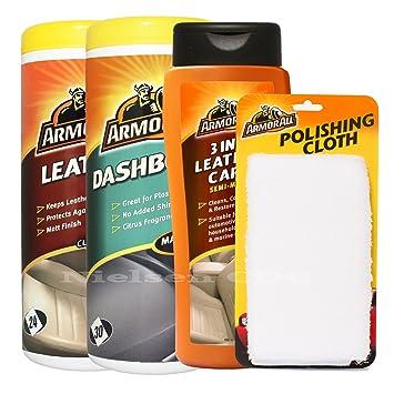 ArmorAll mate Toallitas Piel, toallitas limpiasalpicaderos 3 en 1 cuidado de la piel, gamuza de microfibra), color Pro50: Amazon.es: Coche y moto