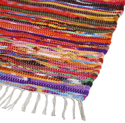 Hand Made Bohemian Cotton Chindi Area Rug Rag in Green,Multi Indian 5 X 7 Feet