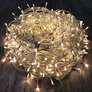KAQ 115FT 300LED String Lights Indoor/Outdoor, Super Bright Christmas Lights with 8 Modes, More Durable Decorative String Lights for Xmas Tree Garden Patio Bedroom Wall Decor (Warm White)…