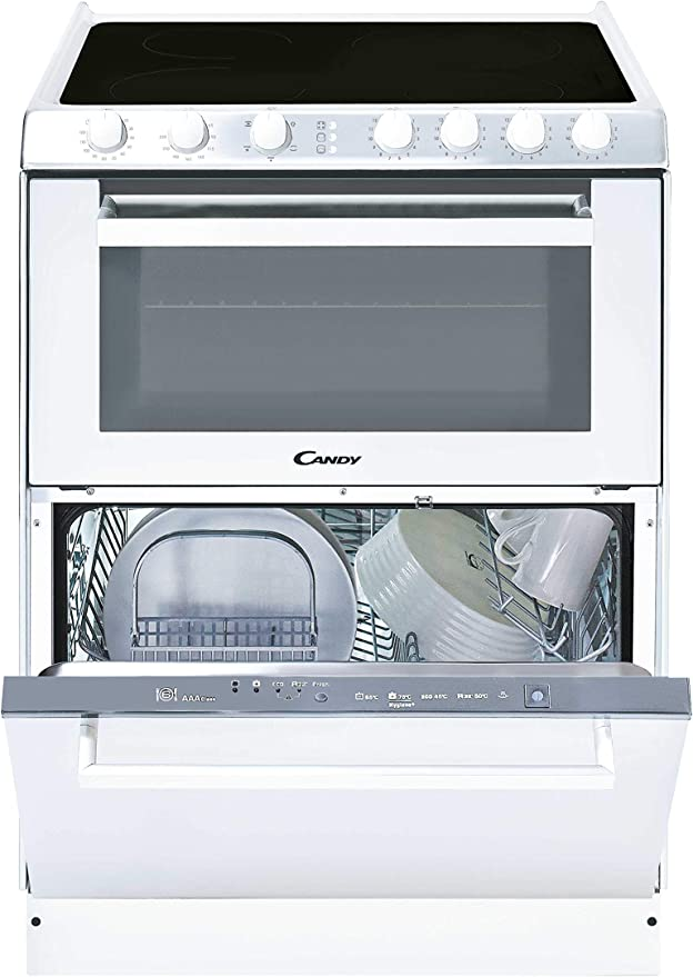 Candy TRIO 9503/1 W/U - Vitrocerámica, lavavajillas y horno en 60cm, independiente, mandos mecánicos, horno eléctrico multifunción 41L, lavavajilla 6 servicios, color blanco: Amazon.es: Grandes electrodomésticos