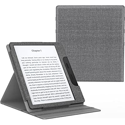 MoKo Funda Compatible con All-New Kindle Oasis (9th and 10th Generación Solo, 2017 and 2019 Release) - Superior Voltear Vertical Funda con Auto Sueño/Estela - Gris