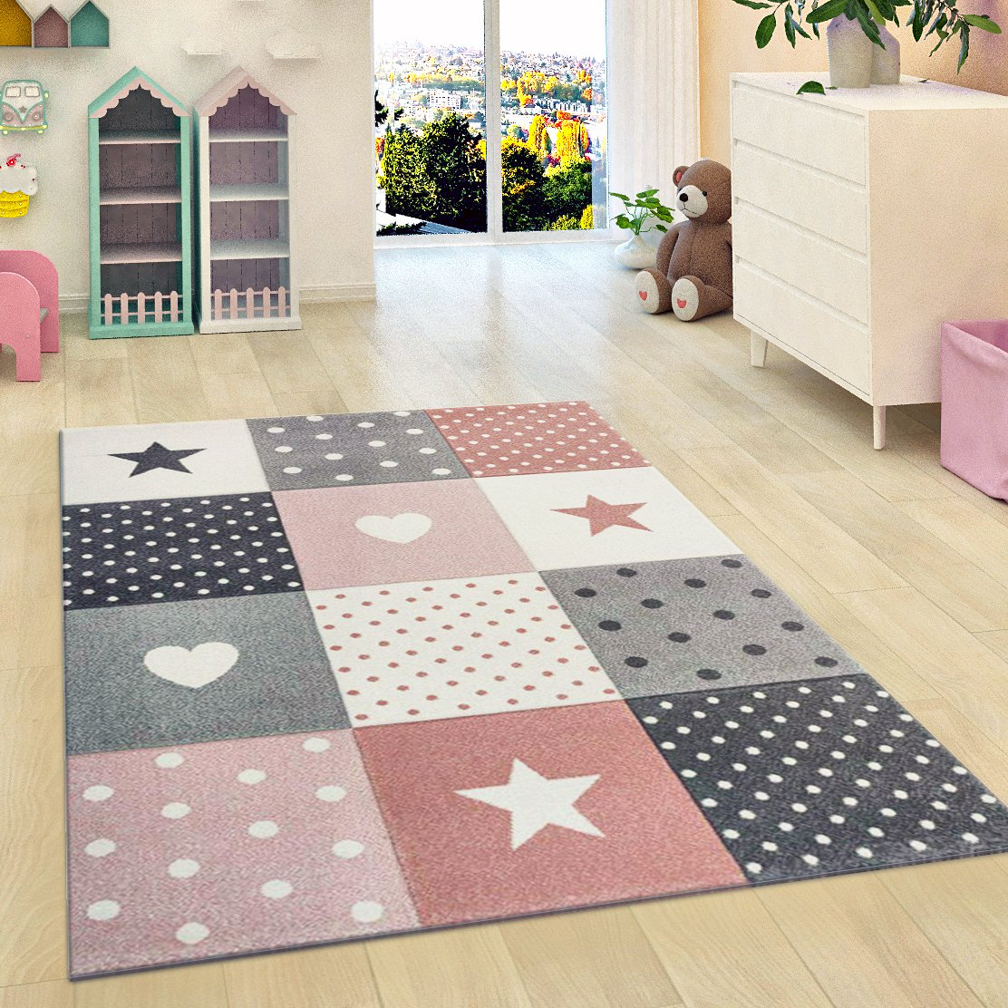 Nursery Rug Stars Children Girls Bedroom Carpet Pink Grey Soft Play Room Mat (160x230cm (5'3'x7'7')) Xrug Ltd