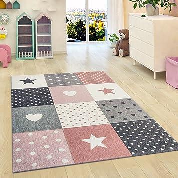 Kinderzimmer Teppich Sterne Kinder Mädchen Schlafzimmer Teppich Rosa ...