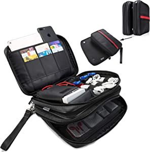 FLYINGCOLORS Electronic Organizer Double Layer Detachable Universal Waterproof Travel Cable Case Cord Accessories Storage Bag for Cable, iPad, Phone, Charger, USB, SD Card (Black)