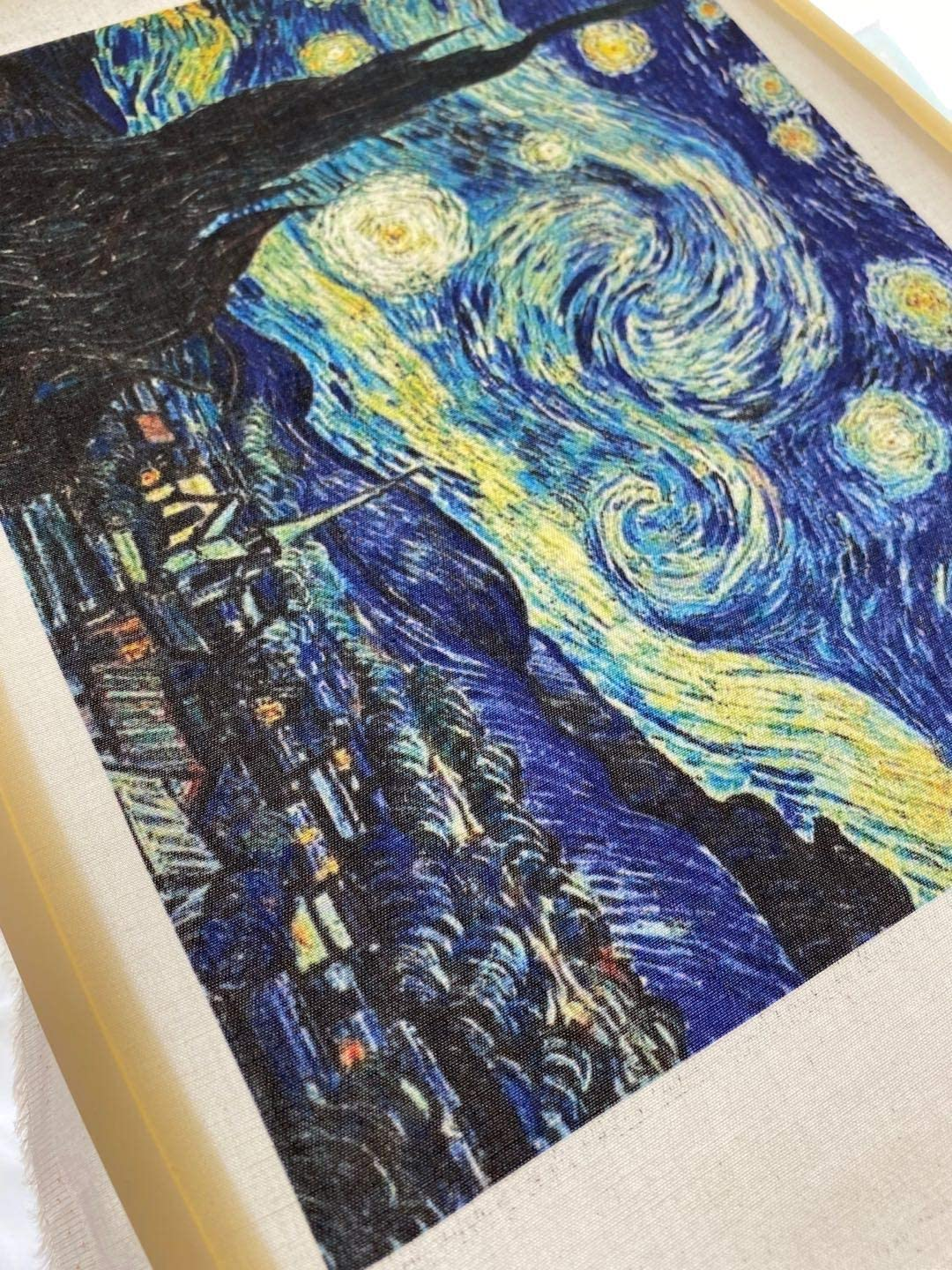 7 pcs of 20x25cm Cotton Twill Fabric Printed Painting of Van Gogh Cotton Twill Fabric for Sewing,Twill Fabric for Making Bags, Quilting,Wall Decor,Cotton DIY Sewing Materials Fabric