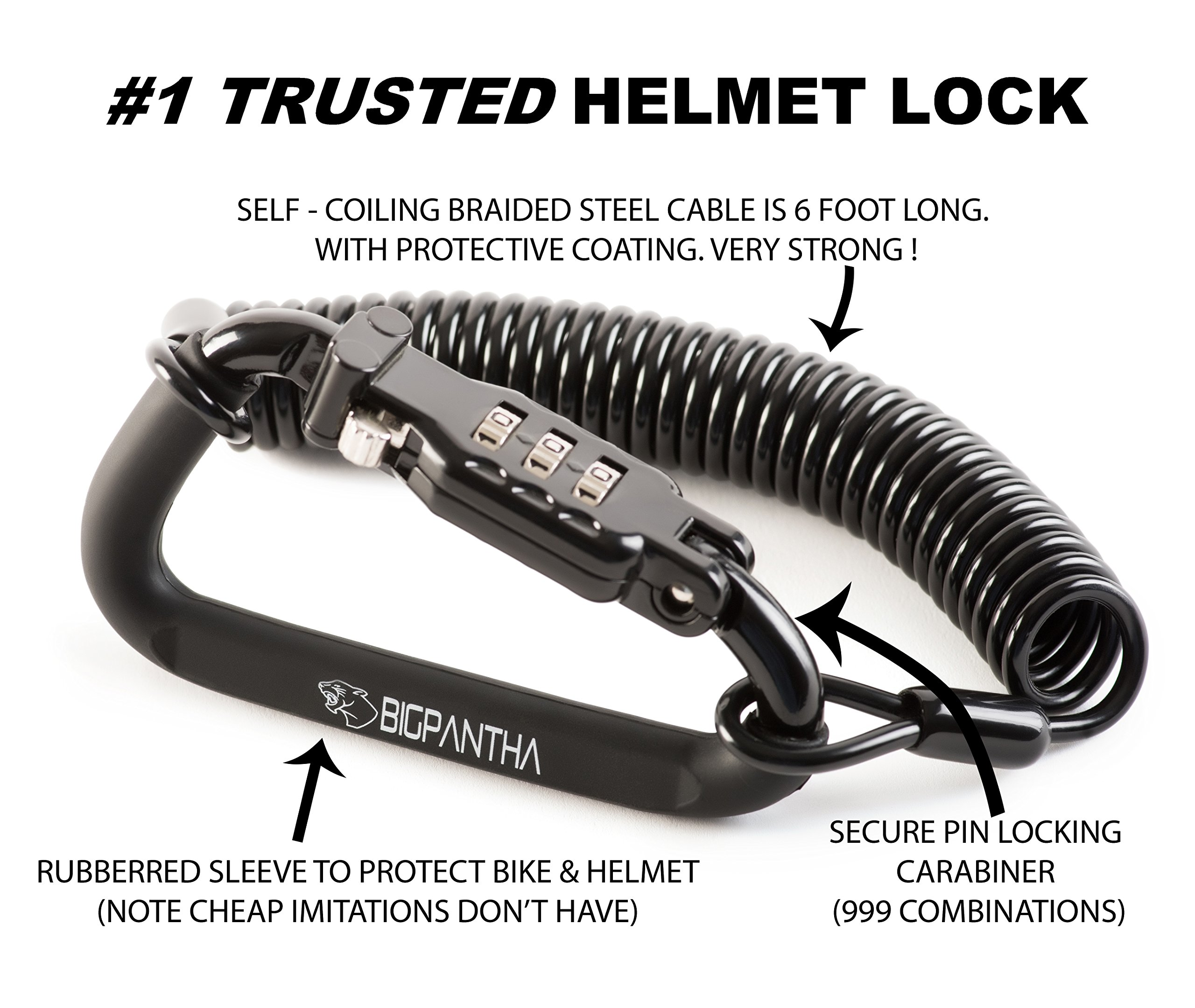 BigPantha Motorcycle Helmet Lock & Cable. Sleek Black Tough Combination PIN Locking Carabiner Device Secures Your Motorbike, Bicycle or Scooter Crash Hat (and Jacket) to Your Bike from