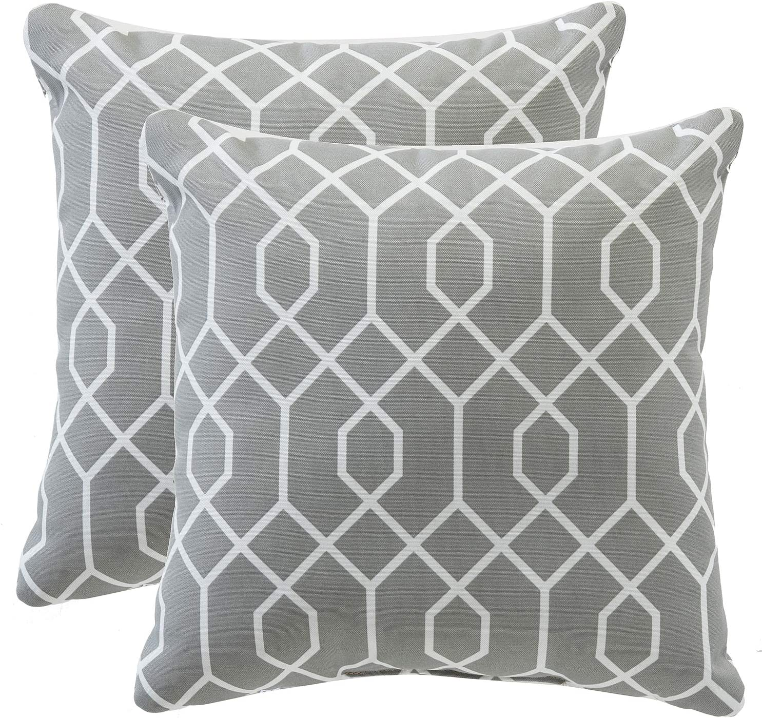 TINA S HOME 16 Grey Outdoor Pillows Waterproof Geometric Throw Pillow for Patio Bench Swing Couch Decor Set of 2