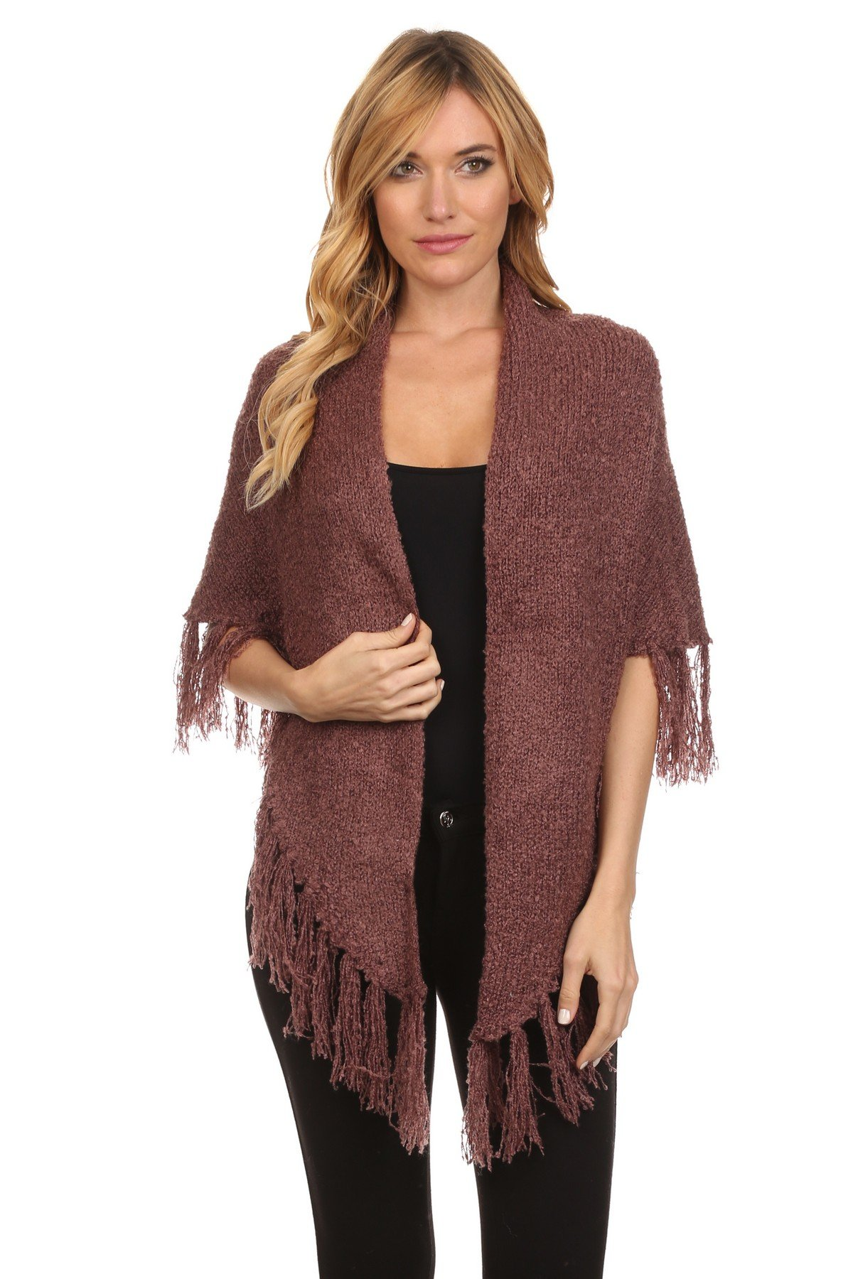 ICONOFLASH Women's Casual Sweater Knit Fringed Fashion Scarf Wrap, Mauve by ICONOFLASH (Image #2)