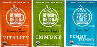 product image for BEYOND BROTH Organic Vegan Vegetable Instant Sipping Broth | Keto, Gluten Free, Whole 30, and non GMO | (Variety Pack) (3 Pack)