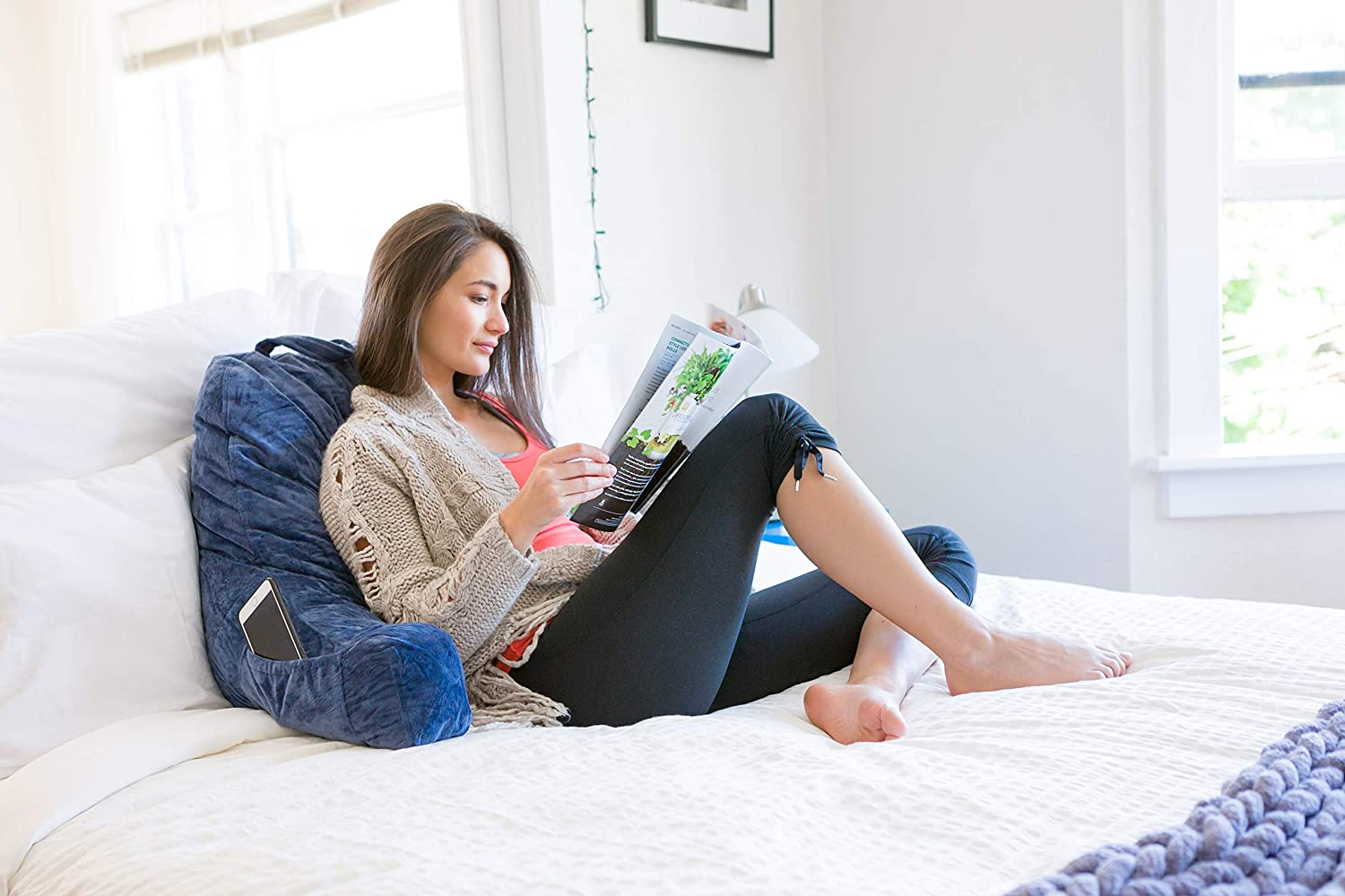 FavFactory Reading Pillow Arms /& Pockets Sitting Up in Bed Navy Blue, Large Bedrest Chair Pillow Removable Cover /& Shredded Memory Foam Back Support When Lounging