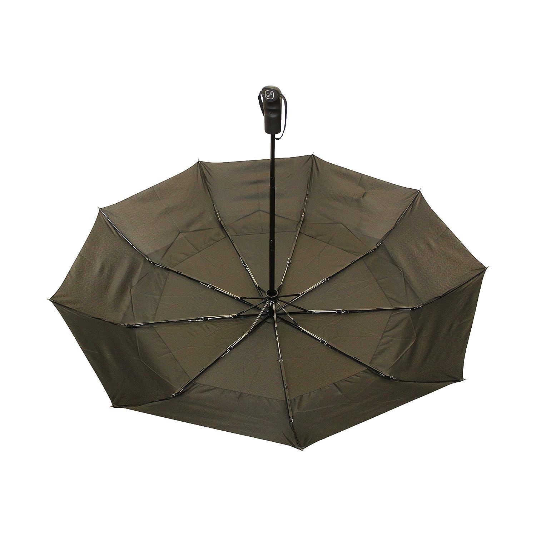 Paraguas de viaje Ergonomad con doble toldo ventilado a prueba de viento - Recubrimiento de teflón y manija ergonómica - Diseño ligero portátil plegable ...