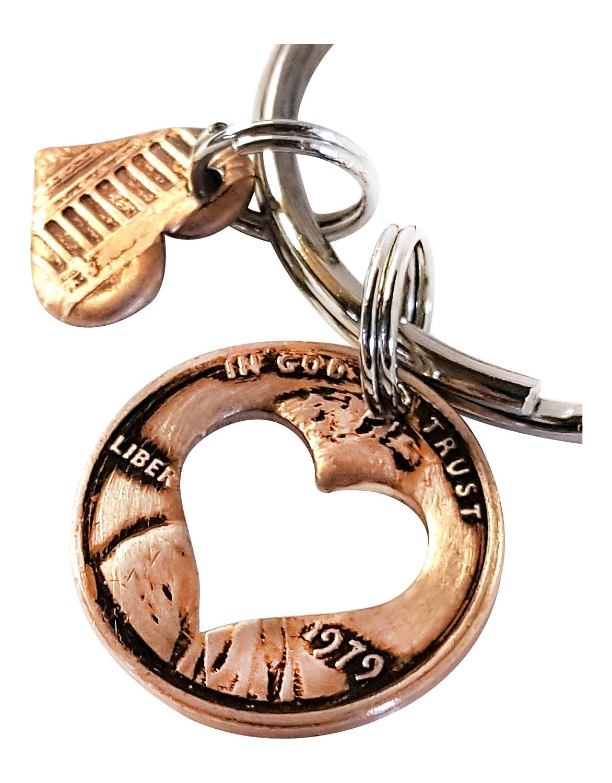 40th Birthday 1979 Penny Heart Key Chain
