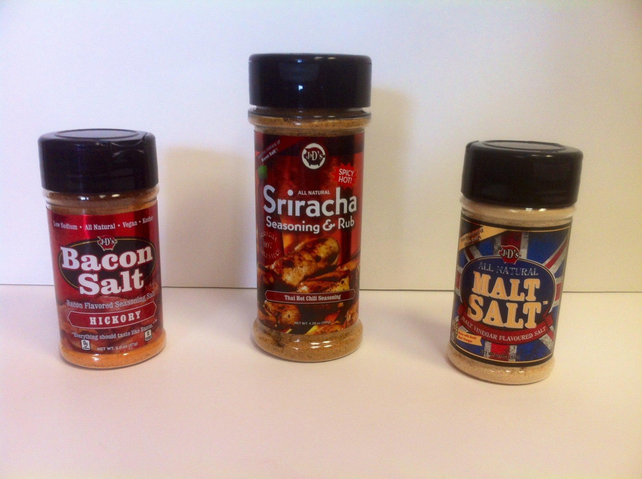 Exotic Gourmet Seasonings Triple Pack- Hickory Bacon Salt (2oz) Sriracha Rub (4.25oz) and Malt Salt (3oz)