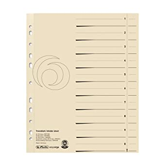 Herlitz EasyOrga - Separador para archivadores A4, crema