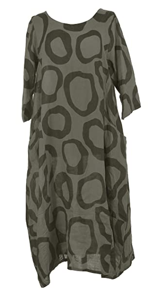 48db7482be TEXTURE Ladies Womens Italian Lagenlook Abstract Circle Print 2 Side Pocket  Linen Midi Dress One Size (One Size