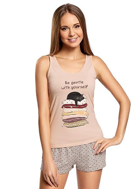oodji Ultra Mujer Pijama de Camiseta de Tirantes y Pantalón Corto con Estampado, Rosa,