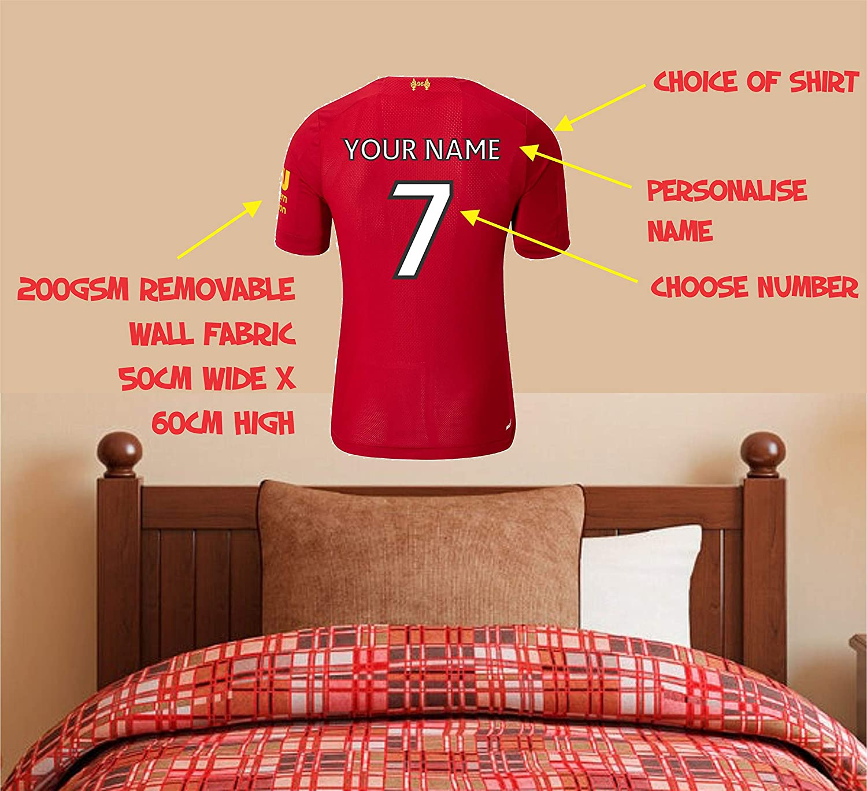 Football Shirt Personalised Name Bedroom Wall Art Mural Decal Sticker UK Seller